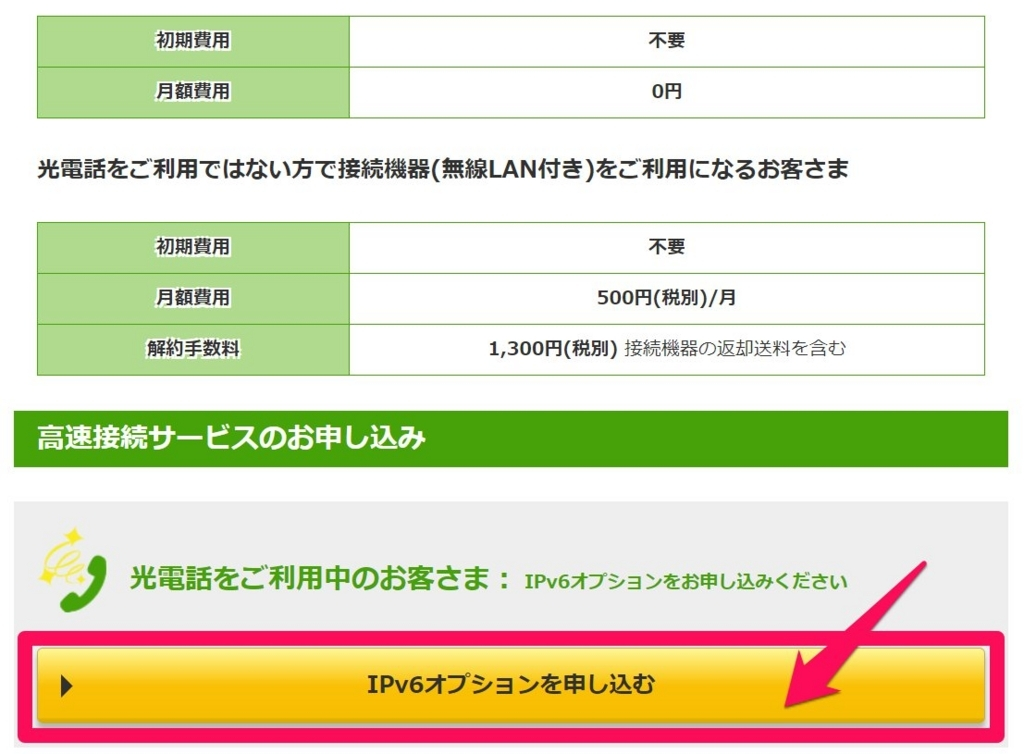 IPv6オプションを申し込む