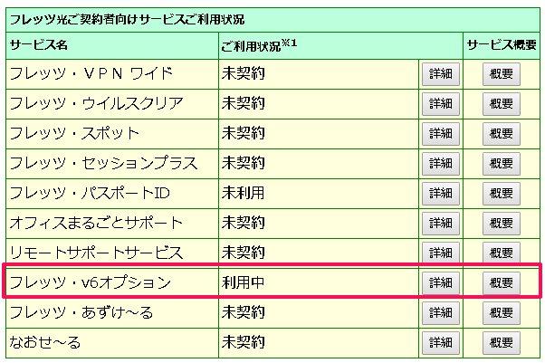 """サービス情報サイト(NTT)の「フレッツ・v6オプション」が""""利用中"""""""