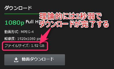 大容量ファイルも一瞬でダウンロード